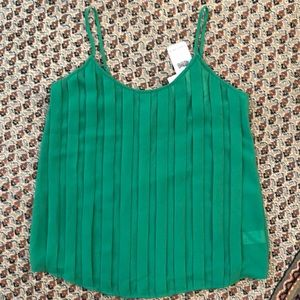 NWT Naked Zebra Green Pleated Front Top size S
